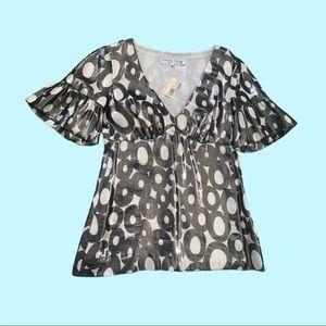 Trina Turk flared short-sleeve blouse